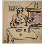 •DONALD BAIN (SCOTTISH 1904-1979) SAILOR WITH GUITAR Ink and coloured wax crayon, signed, 33 x