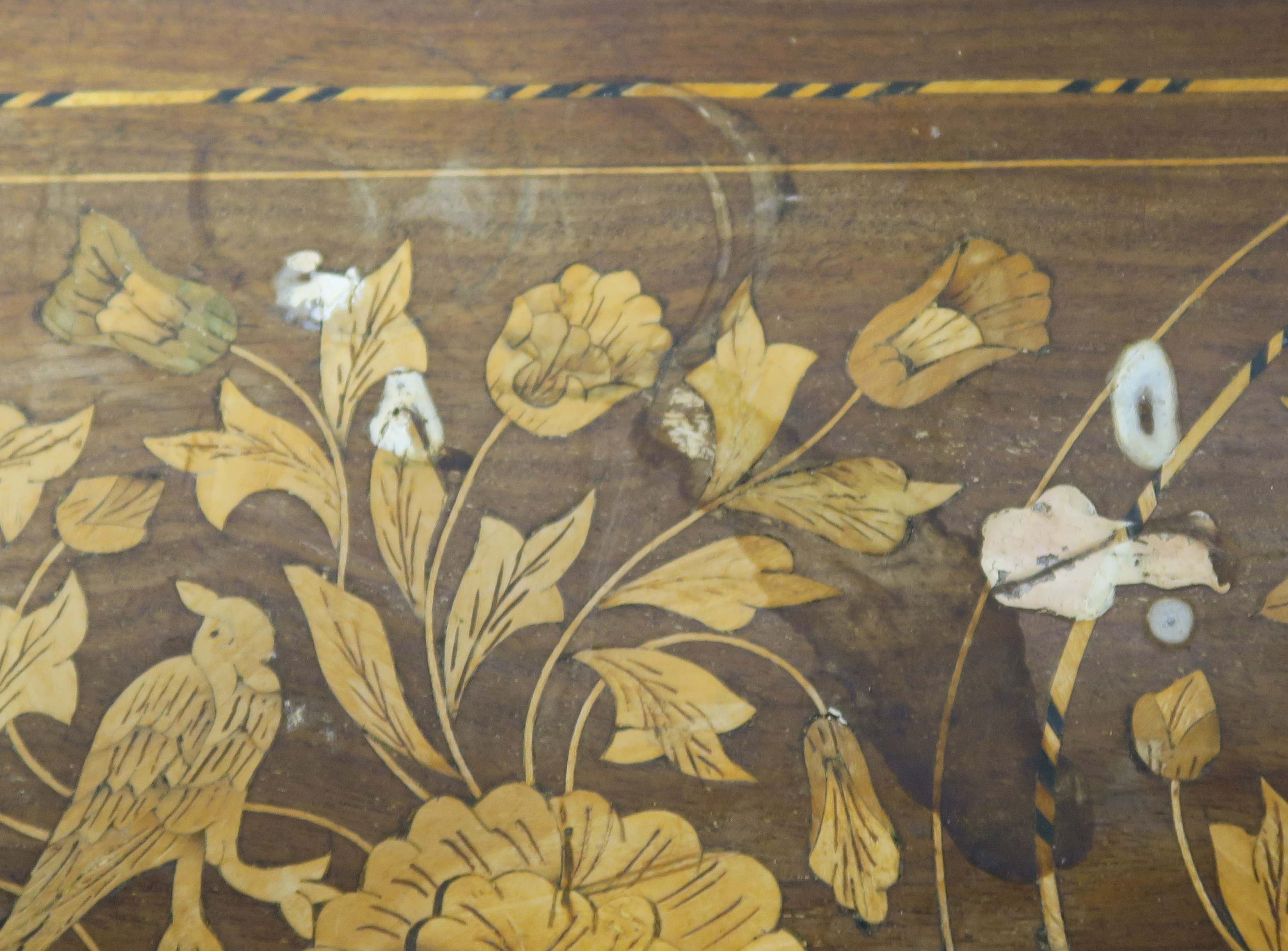 A DUTCH MARQUETRY WALNUT GAMES TABLE decorated with a basket of flowers, birds and scrolling - Image 3 of 11