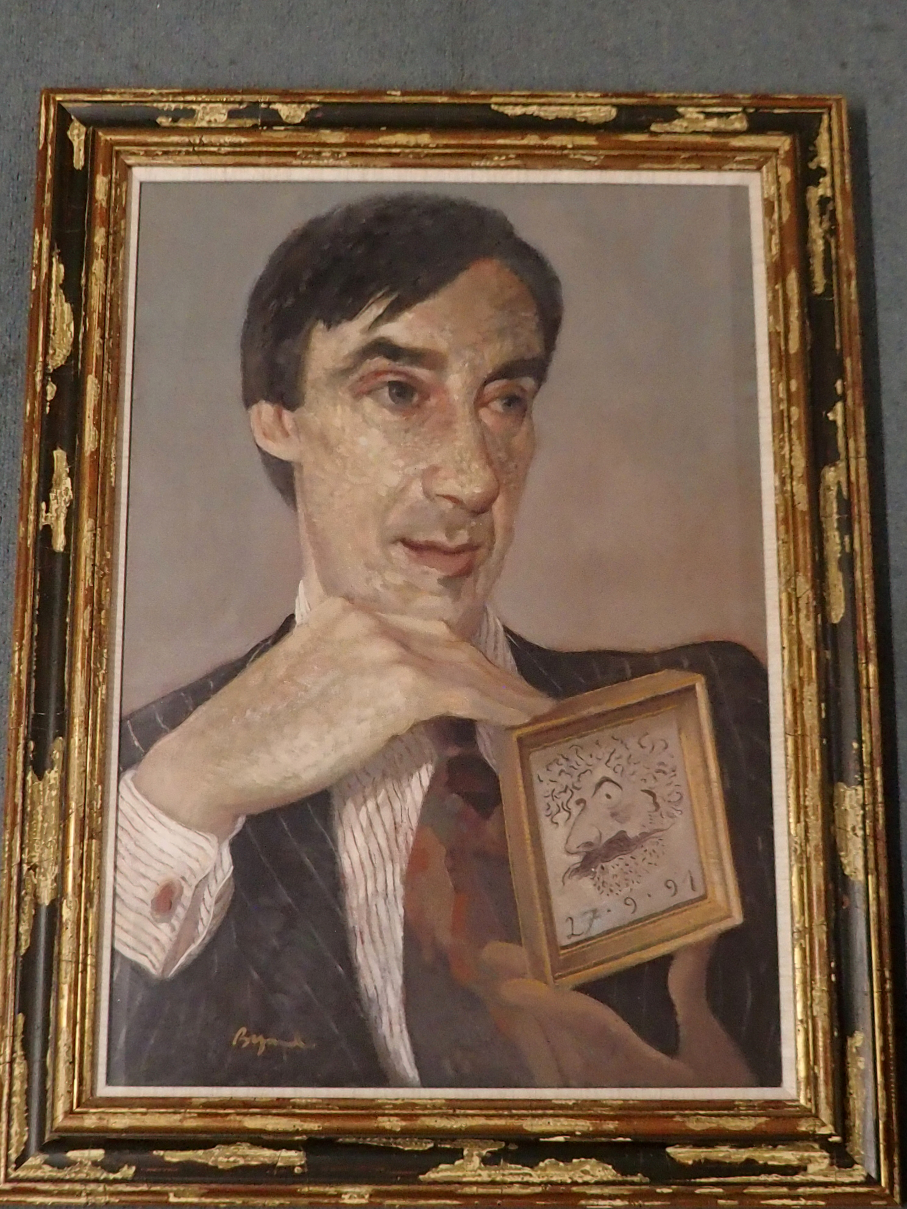 •JOHN BYRNE RSA (SCOTTISH B.1940) PORTRAIT OF WILLIAM HARDIE oil on canvas, signed and dated 27.9. - Image 2 of 5