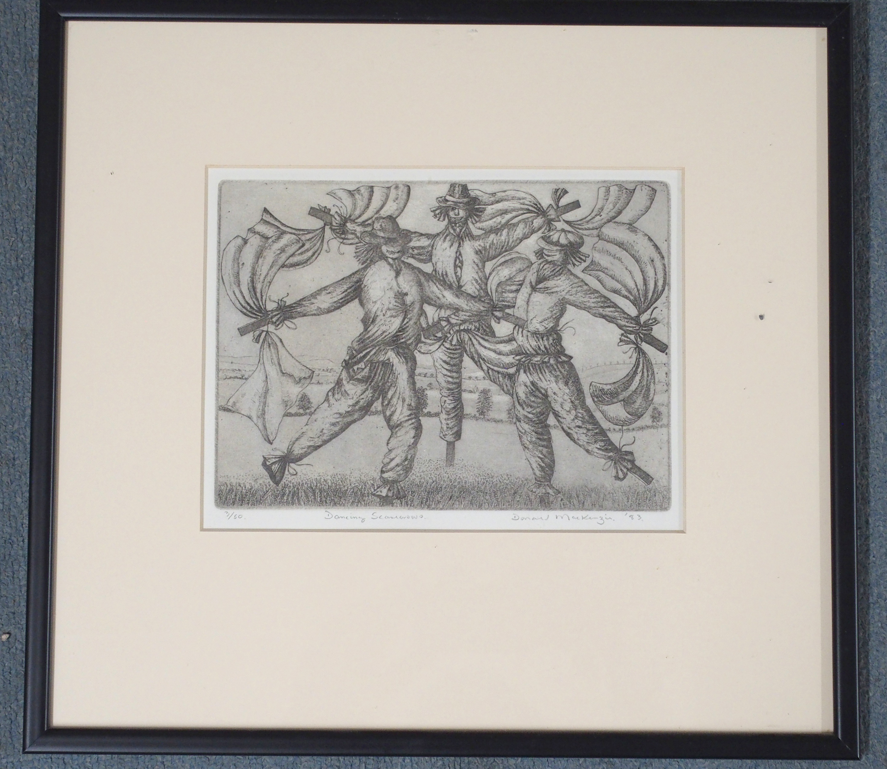 •DUNCAN MACKENZIE (SCOTTISH CONTEMPORARY) DANCING SCARECROWS etching, signed, inscribed and - Image 3 of 7