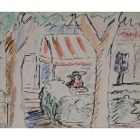 •DONALD BAIN (SCOTTISH 1904-1979) THE CAFE, ST. PAUL DE VENCE Ink and watercolour on paper, 25 x