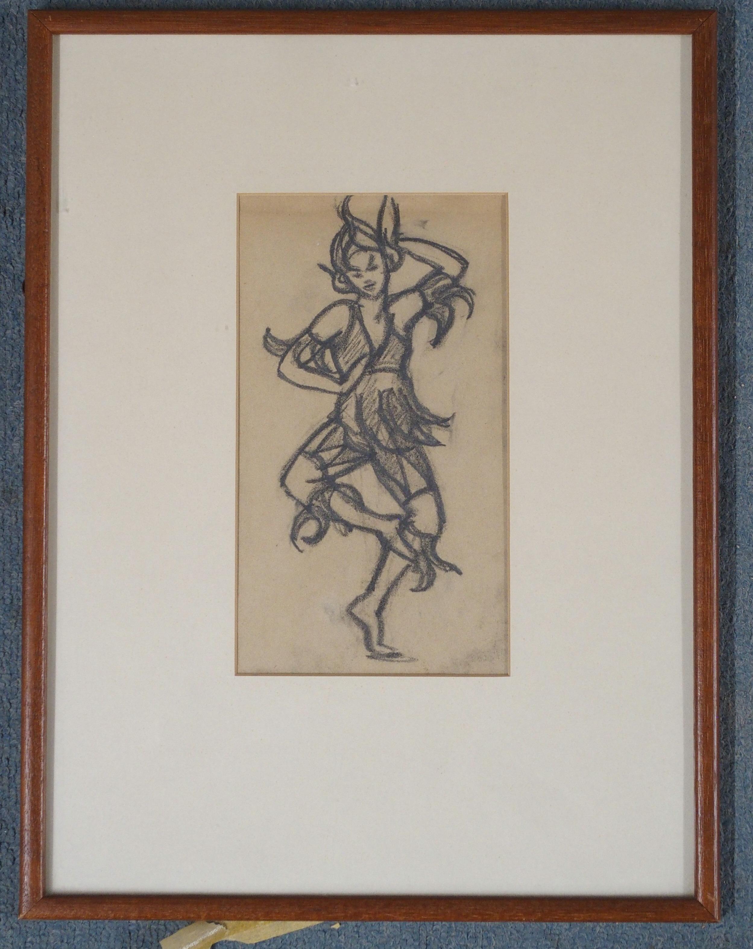 •MARGARET MORRIS (SCOTTISH 1891-1980) COSTUME DESIGN FOR ASHNUR DANCERS 1937 charcoal, 22 x 12cm - Image 2 of 4