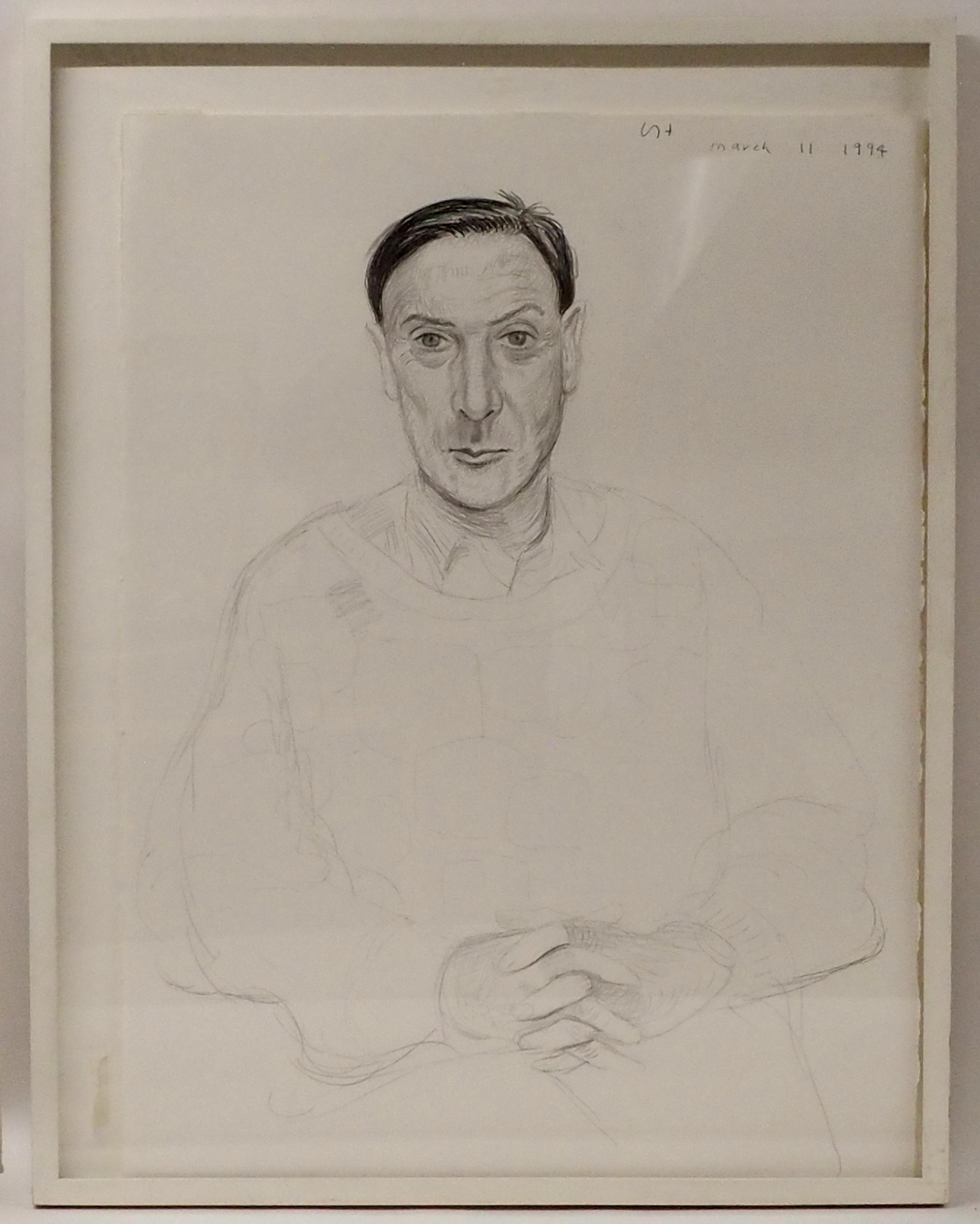 •DAVID HOCKNEY OM, CH, RA (BRITISH b. 1937) WILLIAM HARDIE MARCH 11, 1994 Graphite crayon, signed