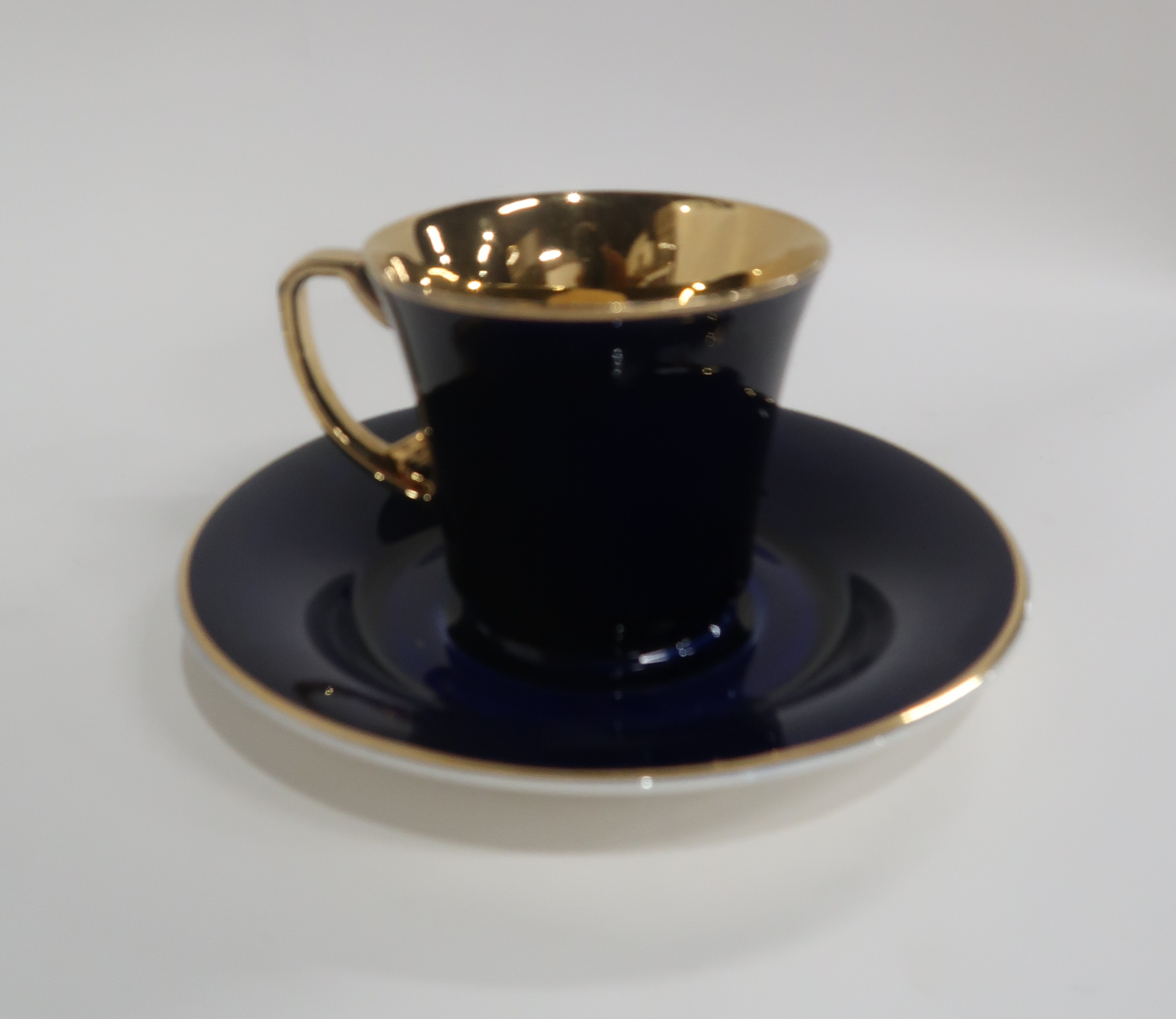 SIX CROWN DEVON DARK BLUE AND GILT COFFEE CUPS AND SAUCERS together with seven Royal Doulton Royal - Image 2 of 3