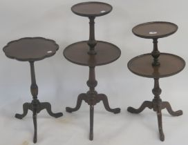 Two mahogany two tier wine tables with tripod base and a small mahogany wine table (3) Condition