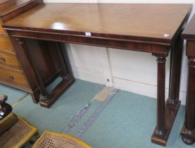A Victorian mahogany hall table with column supports, 91cm high x 138cm wide x 53cm deep Condition