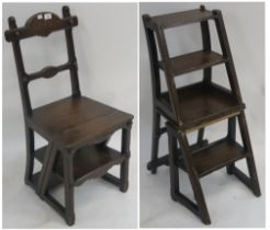 A Victorian oak metamorphic library chair/steps, 88cm high Condition Report: Available upon request