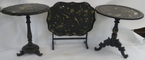 Three inlaid papier mache tables (3) Condition Report: Available upon request