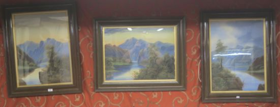 A set of three signed oil on board scenes of lakes and mountains (3) Condition Report: Available