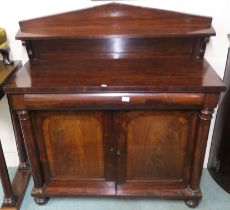 A Victorian mahogany chiffonier with single drawer over two doors with column supports, 127cm high x