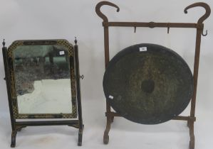A gong with wrought iron stand and a mirror on stand (def) (2) Condition Report: Available upon