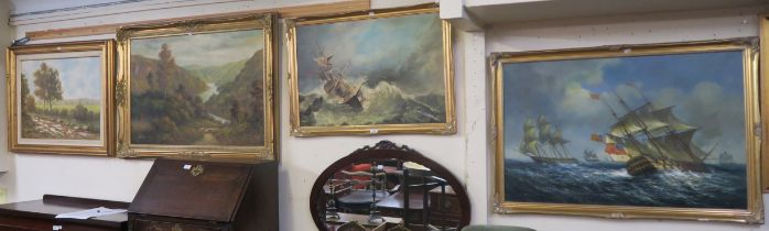 Two oil on canvas Naval scenes and two rural scene oil on canvas (4) Condition Report: Available