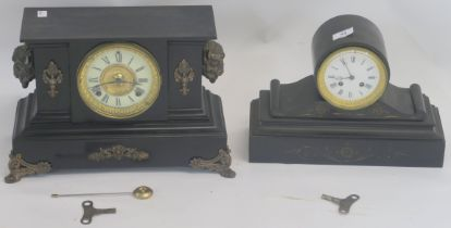 Two black slate mantle clocks (2) Condition Report: Available upon request
