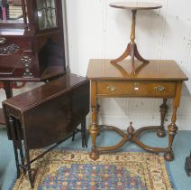 A small mahogany Sutherland table, a reproduction walnut side table with single drawer on cross