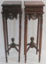 A pair of carved reproduction plant stands, 108cm high x 32cm wide x 32cm deep (2) Condition Report: