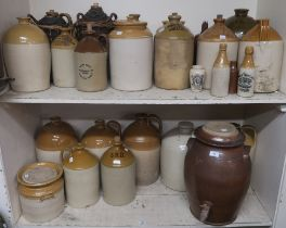 A large selection of ceramic pots, flagons, jars, bottles etc from various locations, Jedburgh,