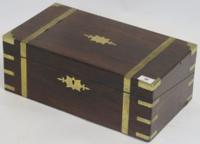 A brass bound rosewood writing slope, 17cm high x 45cm wide x 25cm deep Condition Report: