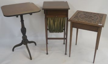 A mahogany side table with carved top, a mahogany tilt top occasional table and a mahogany work