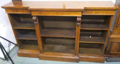 A Victorian walnut open break front bookcase, 94cm high x 153cm wide x 38cm deep Condition Report: