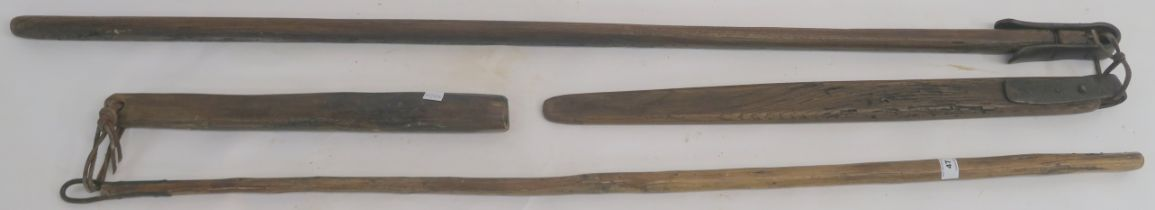 Two wooden corn flails (2) Condition Report: Available upon request