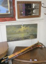 An oil on canvas sailing ships off the coast, signed Dumanoir, wall mirror and nine walking