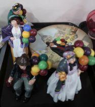 Four Royal Doulton figures including The Old Balloon Seller, Biddy Pennyfarthing, The Balloon Man