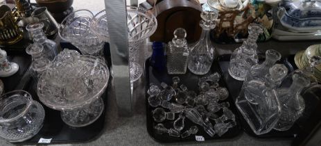 A lot comprising a selection of glassware including triple ring neck decanters, stoppers, fruit