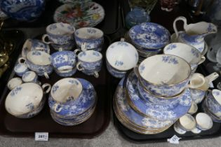 A lot comprising a Minton's blue and white transfer printed part tea service decorated with birds