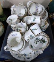 A lot comprising a Royal Albert Brigadoon pattern part tea service & Salisbury demitasse cups and