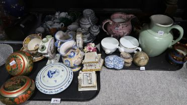 A lot comprising dolls house cups and saucers, a tulip vase painted with pastoral scenes, a hoof