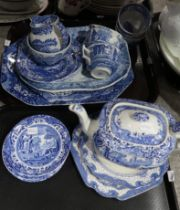 A lot comprising blue & white Spode Italian pattern wares including tea pot, cups, saucers,