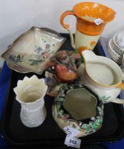 A lot comprising Royal Doulton figure Falstaff, a Royal Winton lustre glazed rectangular bowl, a