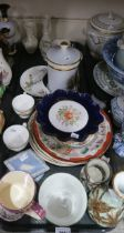 A lot comprising Belleek Shamrock pattern posey vases and saucer, A Royal Worcester hand painted