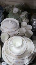 A lot comprising Staffordshire Mayfair pattern part dinner service, a Royal Stafford green ground