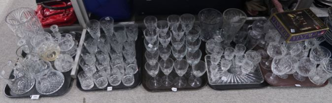 A lot comprising a selection of cut and press moulded drinking glasses including Galway crystal