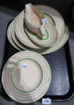 A lot comprising a selection of Clarice Cliff Newport pottery dinner wares comprising serving