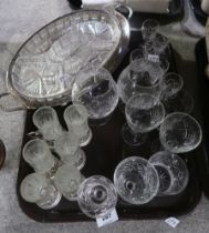 A lot comprising a silver plate and glass serving tray & drinking glasses, other assorted cut