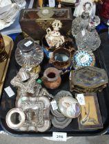 A lot comprising a guilloche enamel desk clock, a gilt metal and tortoise shell trinket box, a