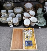 A lot comprising a Noritake cream and gilt decorated part tea service, a Duchess Winchester