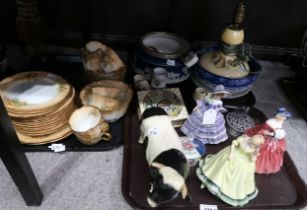 A lot comprising Royal Doulton figures Paula & Genevieve, another figure of a lady, an Adderley hand