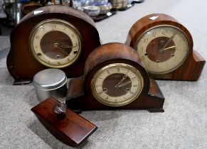 A lot comprising three wooden mantle clocks, one presented to Provost E. Lawson in 1964 Condition