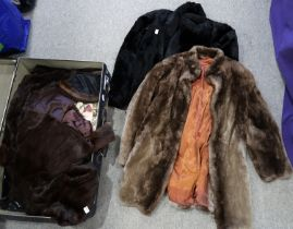 A lot comprising a Globe Trotters travel trunk, assorted furs including coats, hats and a stole,
