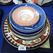 A Royal Worcester Royal Garden pattern cake plate, a 250th anniversary Royal Worcester plate,