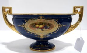 A Royal Worcester two handled dish with painted fruit panel signed by Bagnall (fully restored)