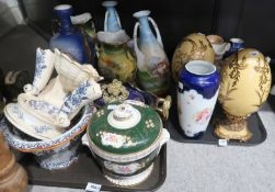 A Dalehall pottery soap dish / sponge tray, A Masons footed bowl, various Victoria Australia vases