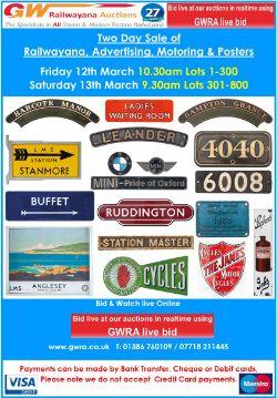 Railwayana, Posters, Motoring and Advertising enamel signs