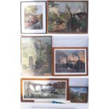 A lot containing a selection of framed prints to include SUNSET OF AN ERA by T Cuneo. TALLYN RAILWAY