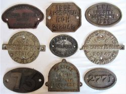 A collection of 8 x cast iron Wagon Plates to include WAGON REPAIRS LMD DONCASTER. 1953 APPROVED RCH