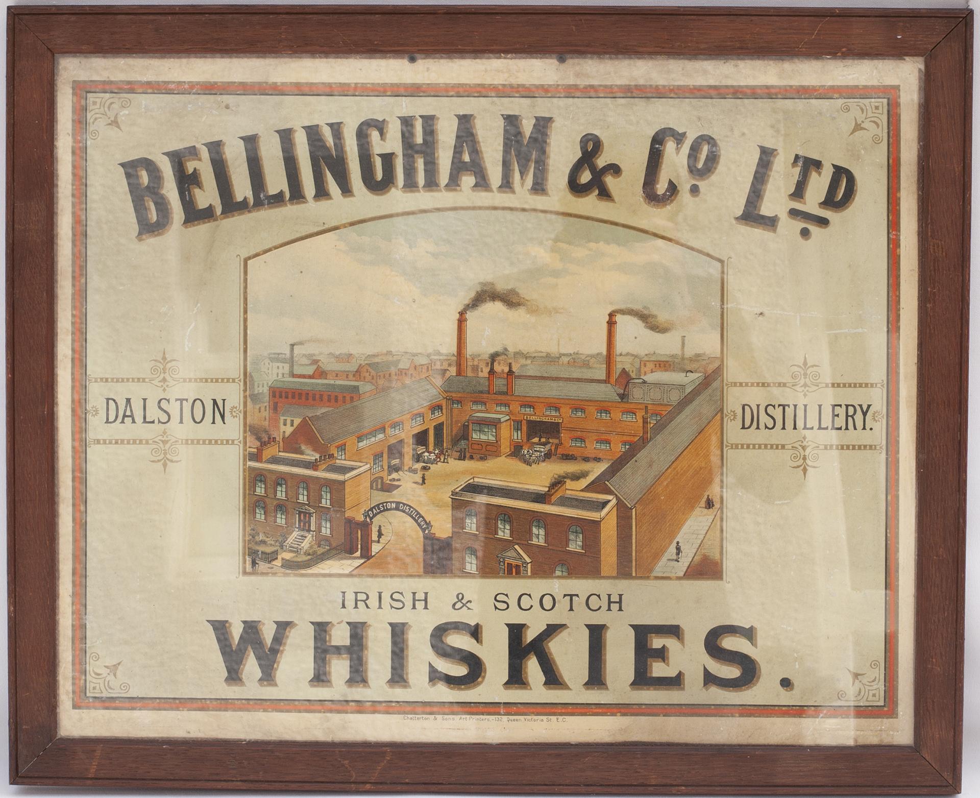 Framed and glazed advertising show card. BELLINGHAM & CO LTD IRISH & SCOTCH WHISKIES DALSTON