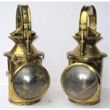 2 x South African Railway Handlamps brass plated and converted to electric lights.